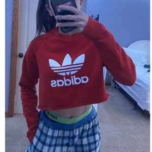red adidas crop top